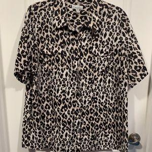 Kim Rogers Cheetah Print Button Up Shirt 1X